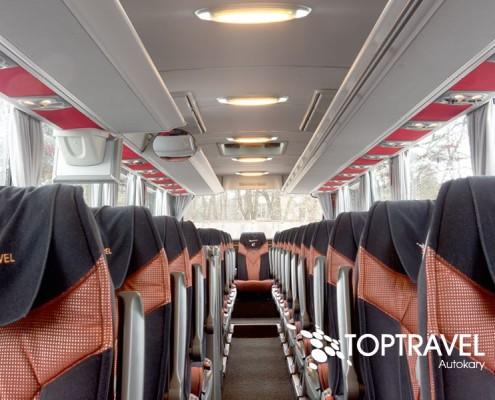 Autokar wynajem Warszawa - Mercedes Tourismo Wnętrze TOP TRAVEL